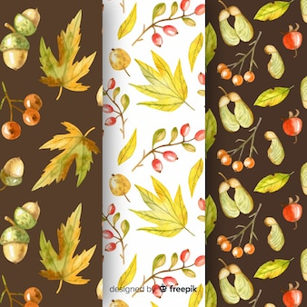 Coleção de padrões de outono em aquarela