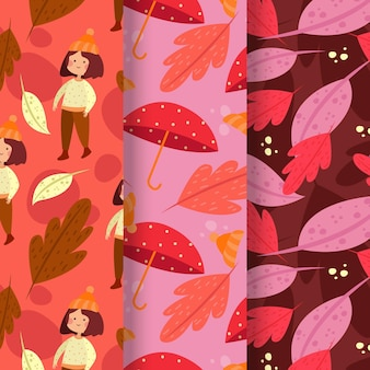 Coleção de padrões de outono em design plano