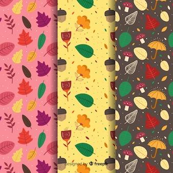Coleção de padrões de outono mão desenhada