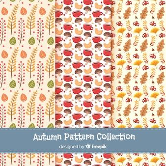 Coleção de padrões de outono planas
