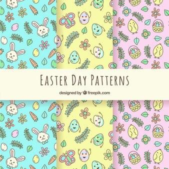 Coleção de padrões de páscoa desenhados a mão