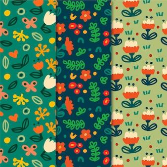 Coleção de padrões de primavera colorida
