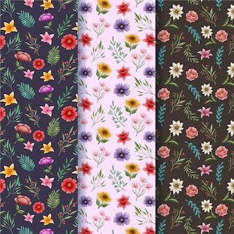 Coleção de padrões de primavera pintados à mão