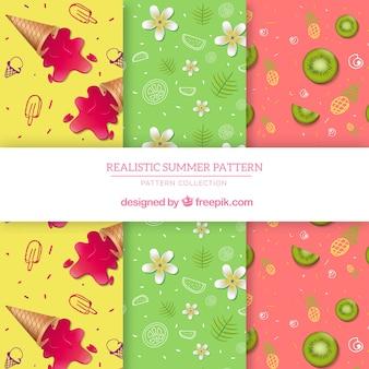 Coleção de padrões de verão com elementos planos