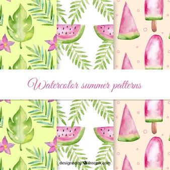 Coleção de padrões de verão em estilo aquarela