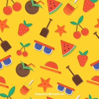 Coleção de padrões de verão em estilo simples