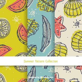 Coleção de padrões de verão em estilo vintage