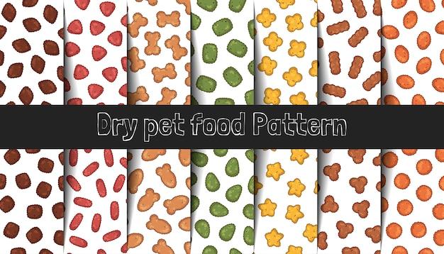 Coleção de padrões de vetores. alimentos secos para gatos e cães.
