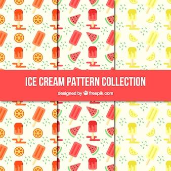 Coleção de padrões decorativos com sorvetes e frutas
