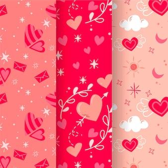 Coleção de padrões desenhados à mão para o dia dos namorados