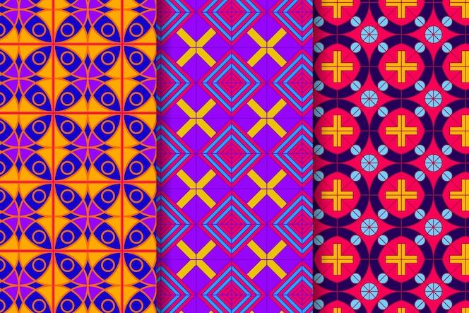 Coleção de padrões desenhados geométricos coloridos