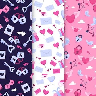 Coleção de padrões desenhados para o dia dos namorados