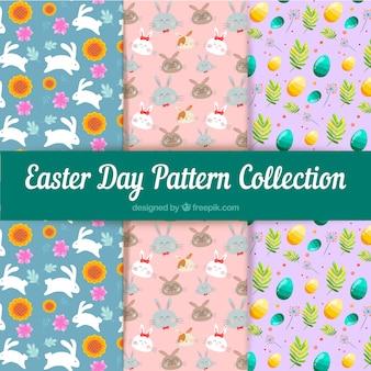Coleção de padrões do dia da páscoa com ovos e animais
