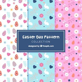 Coleção de padrões do dia da páscoa em estilo plano