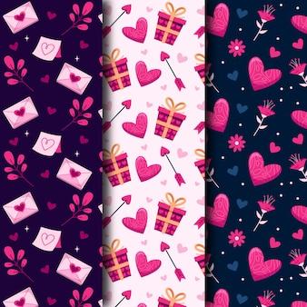 Coleção de padrões do dia dos namorados com design plano