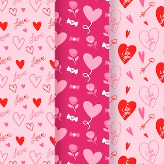 Coleção de padrões do dia dos namorados de design plano