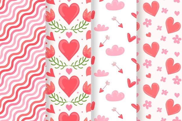 Coleção de padrões do dia dos namorados desenhada à mão