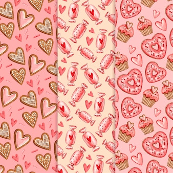 Coleção de padrões do dia dos namorados em aquarela