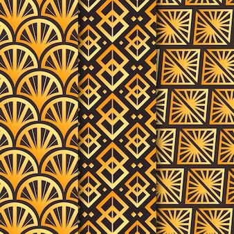 Coleção de padrões dourados em art déco