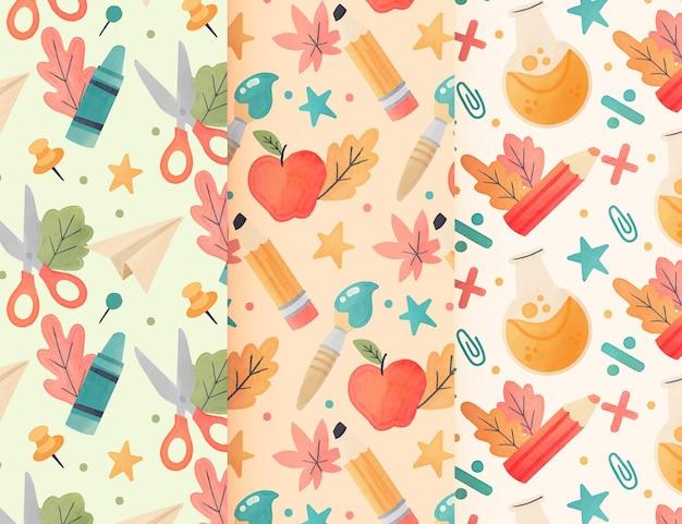Coleção de padrões em aquarela de volta às aulas