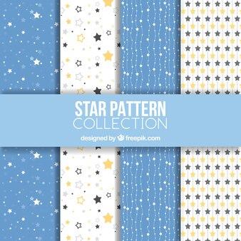 Coleção de padrões estrela branca e azul