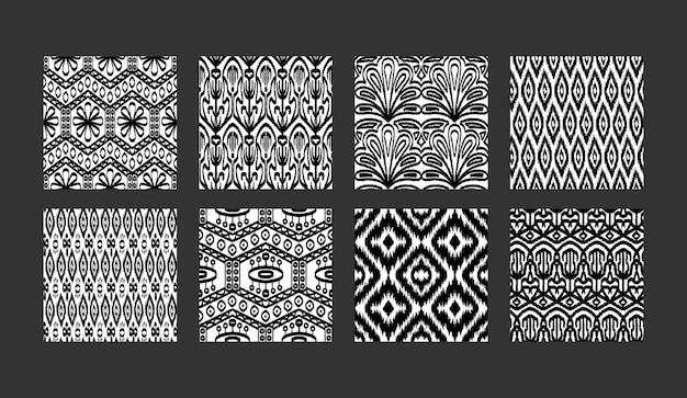 Coleção de padrões étnicos sem costura boho conjunto de estampas têxteis abstratas