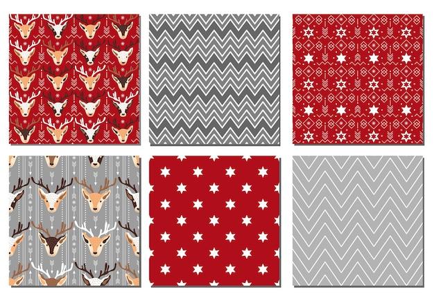 Coleção de padrões festivos de natal. ilustração vetorial.