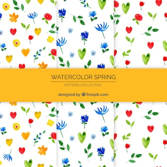 Coleção de padrões florais de primavera em estilo aquarela