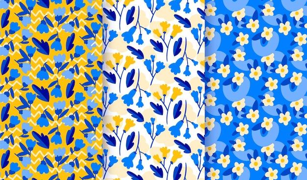 Coleção de padrões florais desenhados à mão