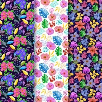 Coleção de padrões florais em aquarela abstrata