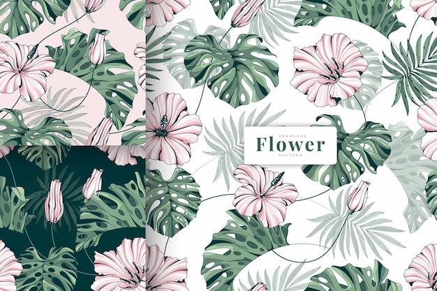 Coleção de padrões florais em lindas cores pastel desenhada