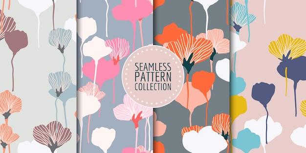 Coleção de padrões florais sem costura