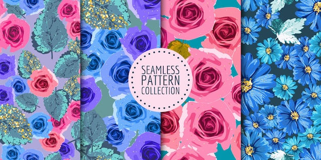 Coleção de padrões florais sem emenda