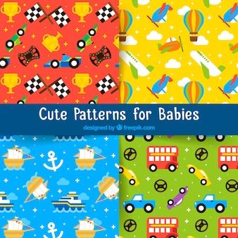 Coleção de padrões fofos para bebês com brinquedos