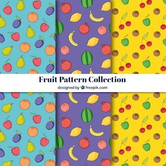 Coleção de padrões fruti azul, roxo e amarelo