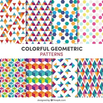 Coleção de padrões geométricos coloridos