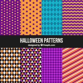 Coleção de padrões geométricos de halloween