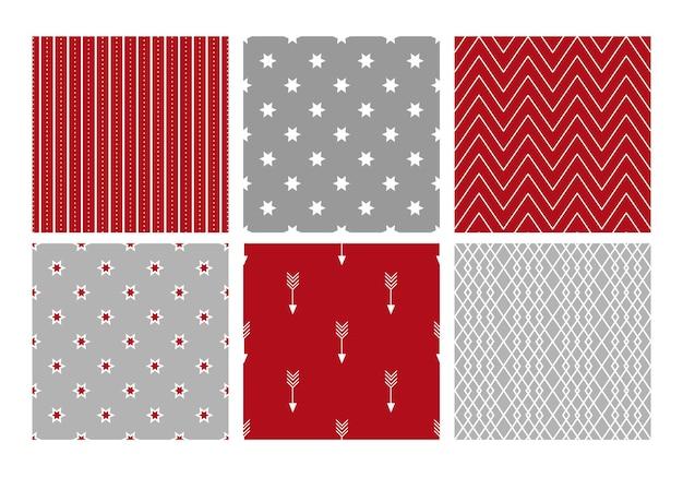 Coleção de padrões geométricos festivos de natal. ilustração vetorial