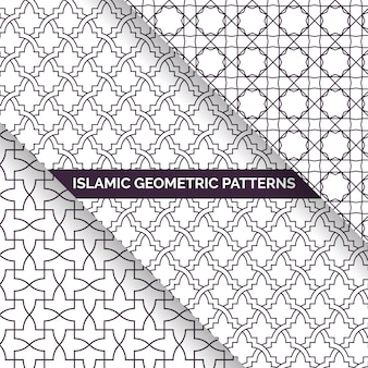 Coleção de padrões geométricos sem emenda de estilo islâmico