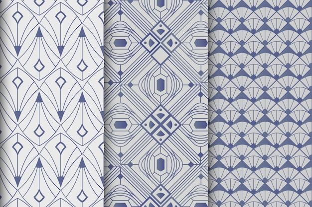 Coleção de padrões gradiente art déco