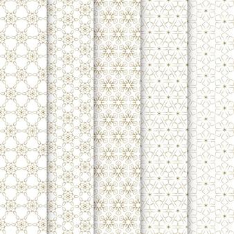 Coleção de padrões modernos de flores geométricas.