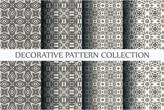 Coleção de padrões ornamentais contínuos com cor preta e branca mínima