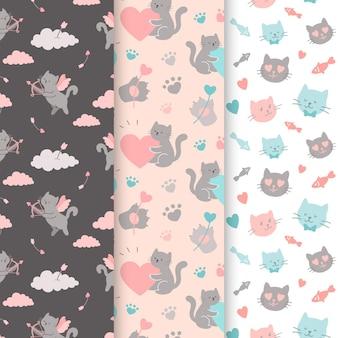 Coleção de padrões para o dia dos namorados com gatos