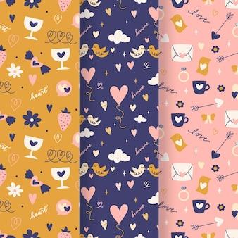 Coleção de padrões para o dia dos namorados com ilustrações