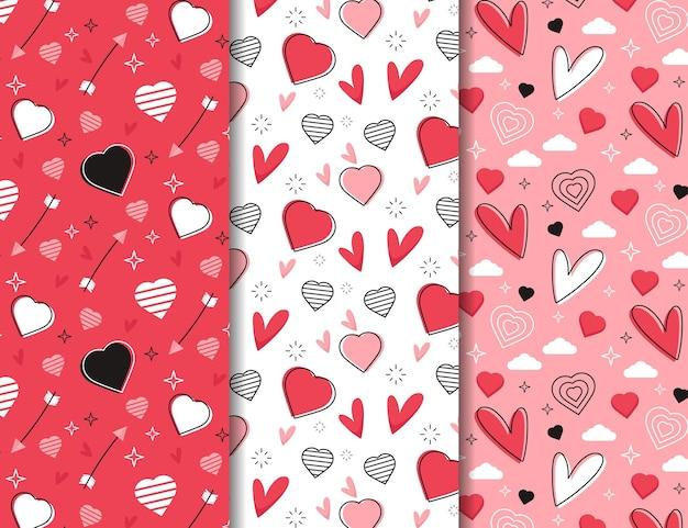 Coleção de padrões para o dia dos namorados em design plano