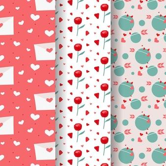 Coleção de padrões planos para o dia dos namorados