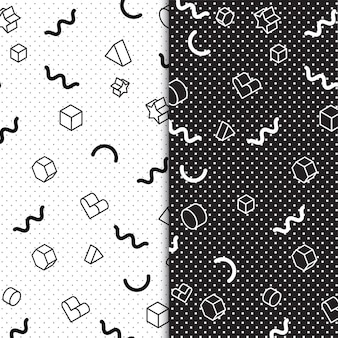 Coleção de padrões retro colorido de memphis dos anos 80 e 90 de vetor grátis