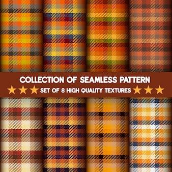 Coleção de padrões sem emenda argyle e xadrez em cores laranja definir plano de fundo.
