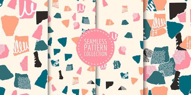 Coleção de padrões sem emenda com diferentes formas e texturas