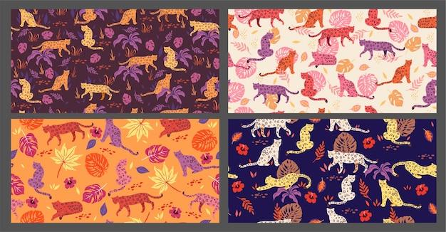 Coleção de padrões sem emenda com leopardos.